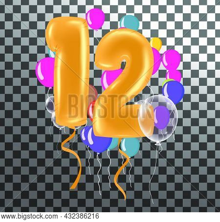 Happy Birthday Twelve Year, Fun Celebration Anniversary Greeting Card With Number, Balloon On Backgr