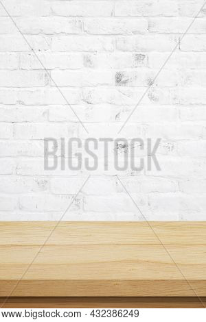 Vertical Brown Wood Table And White Brick Wall Background In Kitchen, Wooden Shelf, Counter For Food