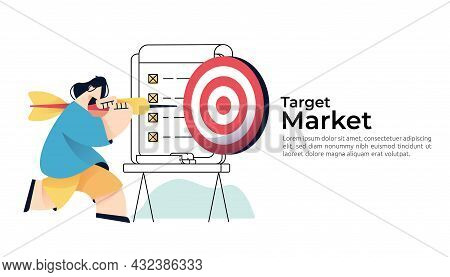 People Character Carry Arrow Dart And Focus To Aim Dartboard For Business Marketing Goal Achievement