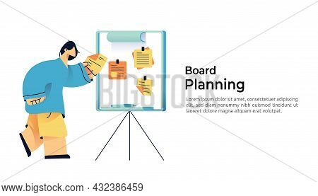 Casual People Character Holding Memo. Sticky Note Cards Tasks On Board For Business Planning, Remind