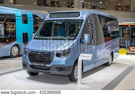 Small Class Bus Gazelle City On Hydrogen Fuel. Gaz Stand At The International Commercial Vehicle Sho
