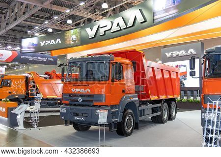 Dump Truck Ural S35510 At The Exhibition Stand Of The Ural Company. International Commercial Vehicle