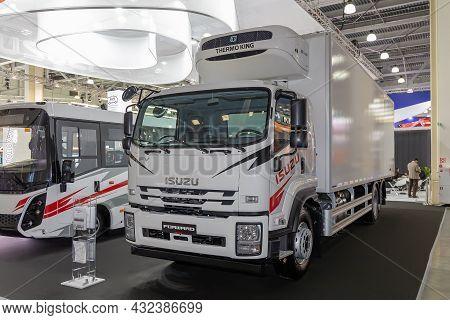 Isuzu Forward Refrigerator Truck. Isuzu Booth At The International Exhibition Of Commercial Vehicles
