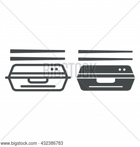 Bento Line And Solid Icon, Asian Food Concept, Japanese Lunchbox With Chopsticks Vector Sign On Whit