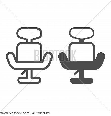 Office Hydraulic Chair With Headrest Line And Solid Icon, Furniture Concept, Revolving Armchair Vect