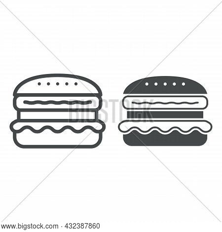 French Burger Line And Solid Icon, Fast Food Concept, Cheeseburger Vector Sign On White Background,