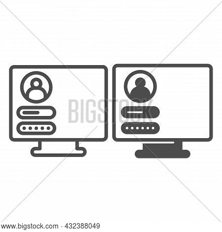 Monitor Monoblock With User Login Page Line And Solid Icon, Computer Concept, Authorization Vector S