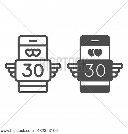 Winged Love Message 30 In Smartphone Line And Solid Icon, Love And Dating Concept, Text Thirty Vecto