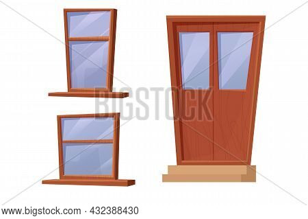 Set Wooden Window And Door In Cartoon Style Isolated On White Background. Brown Textured Exterior De