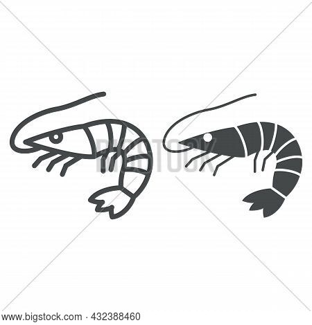 Shrimp Line And Solid Icon, Seafood Concept, Prawn Vector Sign On White Background, Outline Style Ic
