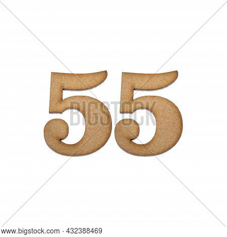 Number 55 In Wood, Isolated On White Background