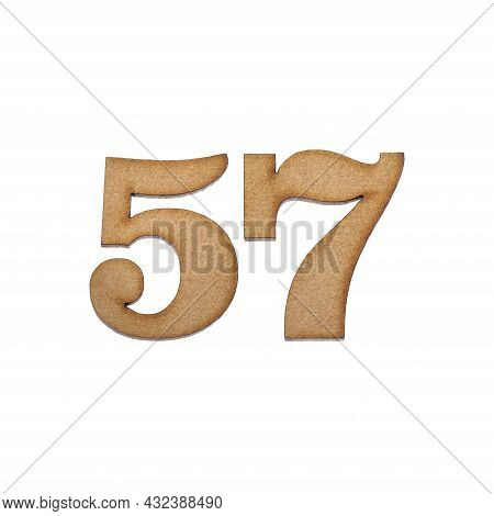 Number 57 In Wood, Isolated On White Background
