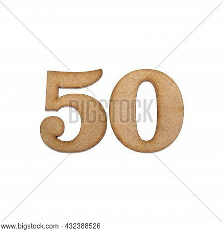 Number Fifty, 50 - Piece Of Wood Isolated On White Background