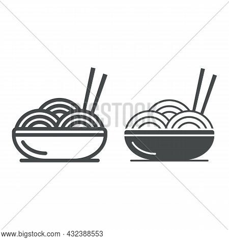 Noodles Line And Solid Icon, Asian Food Concept, Bowl Of Noodles And Chopsticks Vector Sign On White