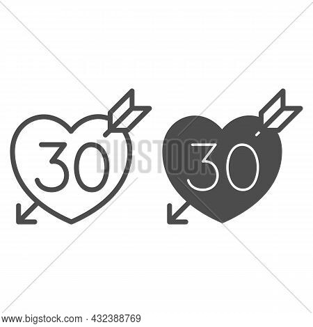 Number 30 In Heart Pierced By Arrow Line And Solid Icon, Love And Relationship Concept, Thirty Vecto