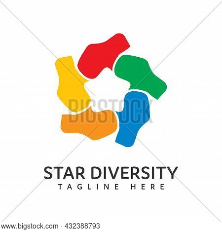 Diversity And Togetherness Logo. People Network Together Hands Form A Star, Social Team Logo Icon. S