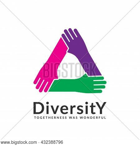 Diversity And Togetherness Logo. People Network Together Triangle Hands, Social Team Logo Icon. Soci