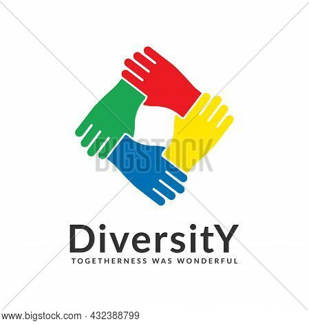 Diversity And Togetherness Logo. People Network Together Hands, Social Team Logo Icon. Social Divers