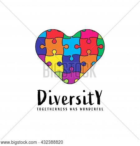 Abstract Logo Autism Care Diversity And Togetherness, Colorful Puzzle Bridge Vector Design. Playful
