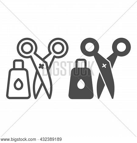 Glue And Scissors Line And Solid Icon, Office Supplies Concept, Office Implements, Tools Vector Sign