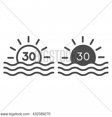 Sun With Number 30 And Sea Sunrise Line And Solid Icon, Love And Relationship Concept, Thirty Vector