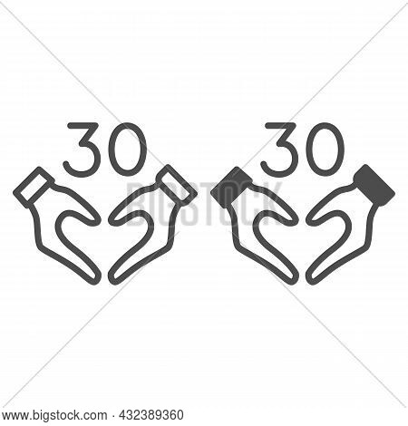 Hands In Heart Shape And Number 30 Line And Solid Icon, Dating And Relationship Concept, Thirty Vect
