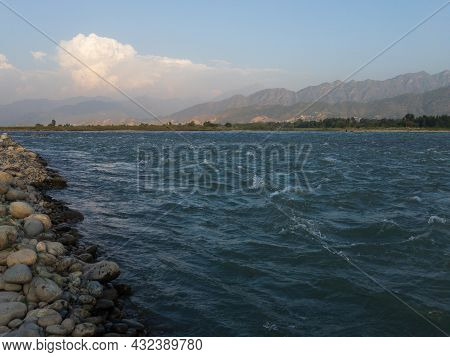 Beautiful Scenic View Of River Swat Blue Water