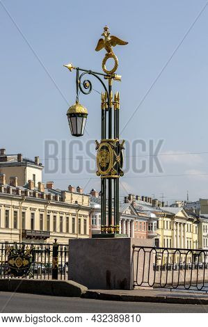 St. Petersburg, Russia - July 09, 2021: Panteleimon Bridge Street Lantern In St. Petersburg