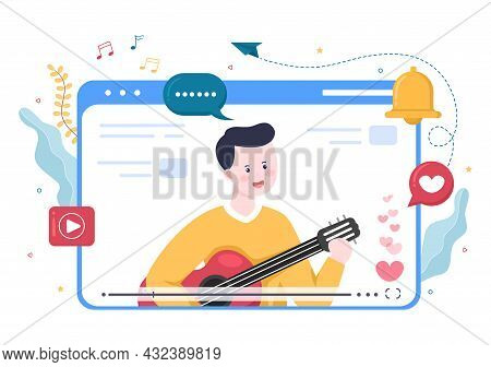 Live Music Content Creator Background Musician Is Playing Guitar, Singing Through Camera In Living R