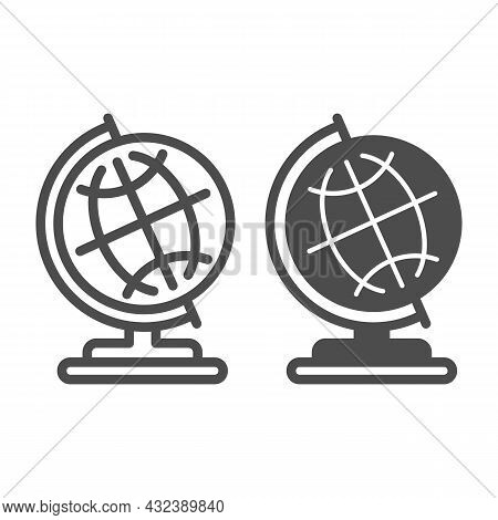 Globe With Meridians On Stand Line And Solid Icon, Education Concept, Earth Globe Vector Sign On Whi