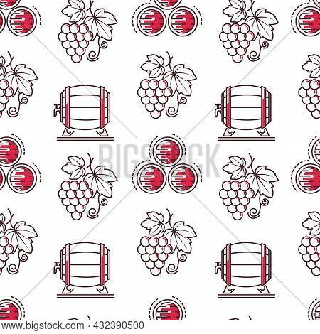 Wine Tasting And Making, Winery Seamless Pattern