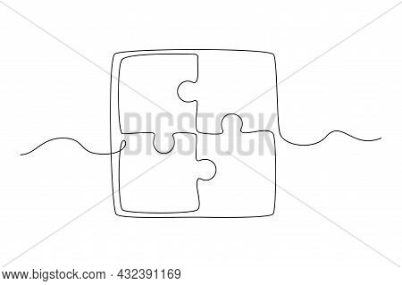 Continuous One Line Drawing Of A Joined Pieces Of Puzzle Game On White Background. Teamwork, Coopera