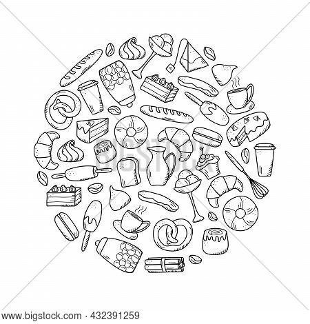 Vector Elements Of Sweet Snacks And Pastries, Coffee Dishes. Excellent For Decorating Cafes And Menu
