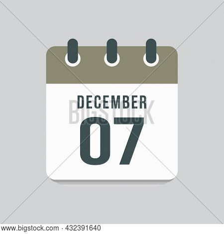 Icon Day Date 7 December, Template Calendar Page