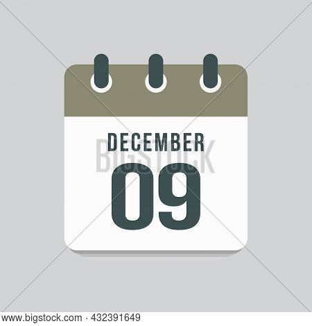 Icon Day Date 9 December, Template Calendar Page