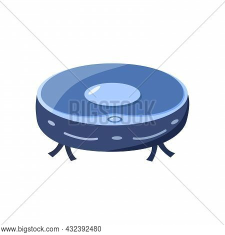 Robot Vacuum Cleaner Vector Illustration Of Modern Home Appliances. Wireless Vacuum Cleaner Icon Iso