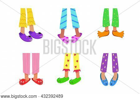 Children's Feet In Colored Pajamas And Funny Slippers. Vector Illustration Of Home Sleeping Clothes