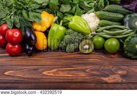 Fresh Vegetables And Fruits Background. A Set Of Delicious Vegetables. Variety Of Raw Vegetables. As
