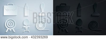 Set Office Chair, Stamp, Target, Scotch, Pencil And Briefcase Icon. Vector