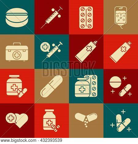 Set Medicine Pill Or Tablet, Ointment Cream Tube Medicine, Pills Blister Pack, Medical Syringe With