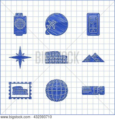 Set Coliseum In Rome, Italy, Earth Globe, Travel Ticket, Egypt Pyramids, Postal Stamp And, Wind Rose
