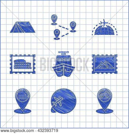 Set Ship, Globe With Flying Plane, Map Pointer Egypt Pyramids, Postal Stamp And, Coliseum Rome, Ital