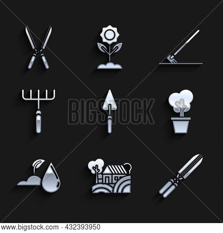 Set Garden Trowel Spade Or Shovel, Farm House Concept, Gardening Handmade Scissors For Trimming, Tre