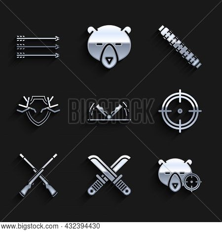 Set Trap Hunting, Hunt On Bear With Crosshairs, Target Sport For Shooting Competition, Two Crossed S