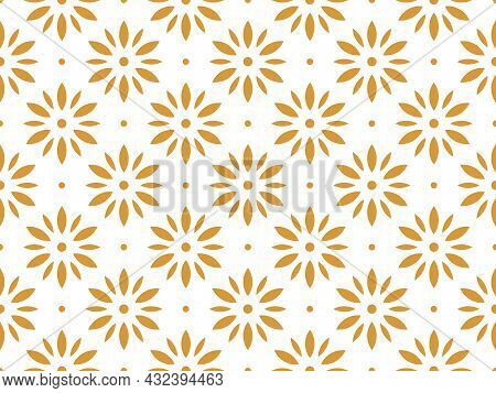 Flower Geometric Pattern. Seamless Background. White And Gold Ornament. Ornament For Fabric, Wallpap