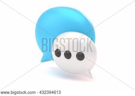 Message Bubbles Front 3d Render Illustration. Talk Bubble Speech Icon. Chat Online Symbols. Communic