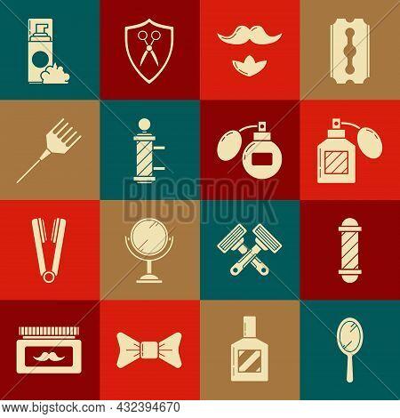 Set Hand Mirror, Classic Barber Shop Pole, Aftershave, Mustache Beard, Hairbrush, Shaving Gel Foam A