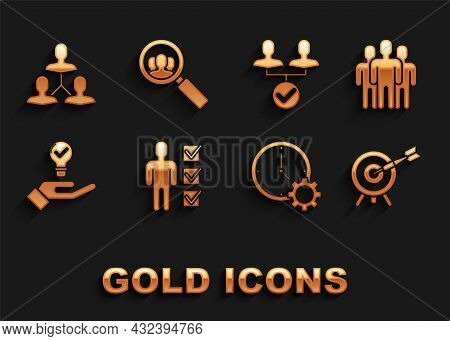 Set User Of Man In Business Suit, Users Group, Target With Arrow, Time Management, Light Bulb Hand,