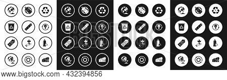Set Recycle Symbol And Leaf, Battery, Bin With Recycle, Earth Globe Plant, Light Bulb Lightning, No