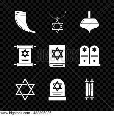 Set Traditional Ram Horn, Shofar, Star David Necklace Chain, Hanukkah Dreidel, Tombstone With Star D